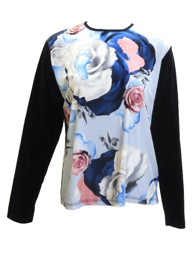 Euro Design Velour Floral Top