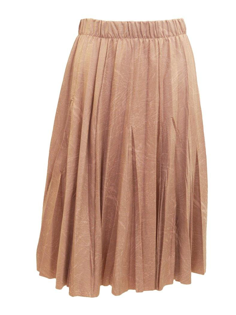 Faux Leather Crinkle Pleat Knee Length Skirt