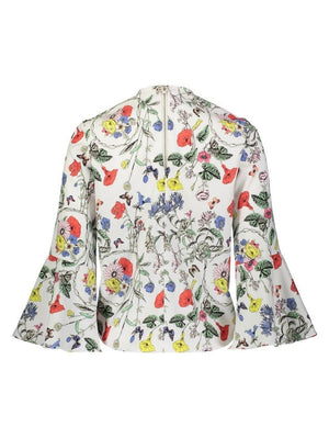 Yal Printed Tie Front Blouse