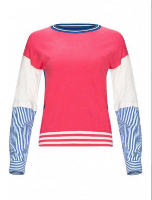 Yal ColorBlock Stripe Sleeve Top