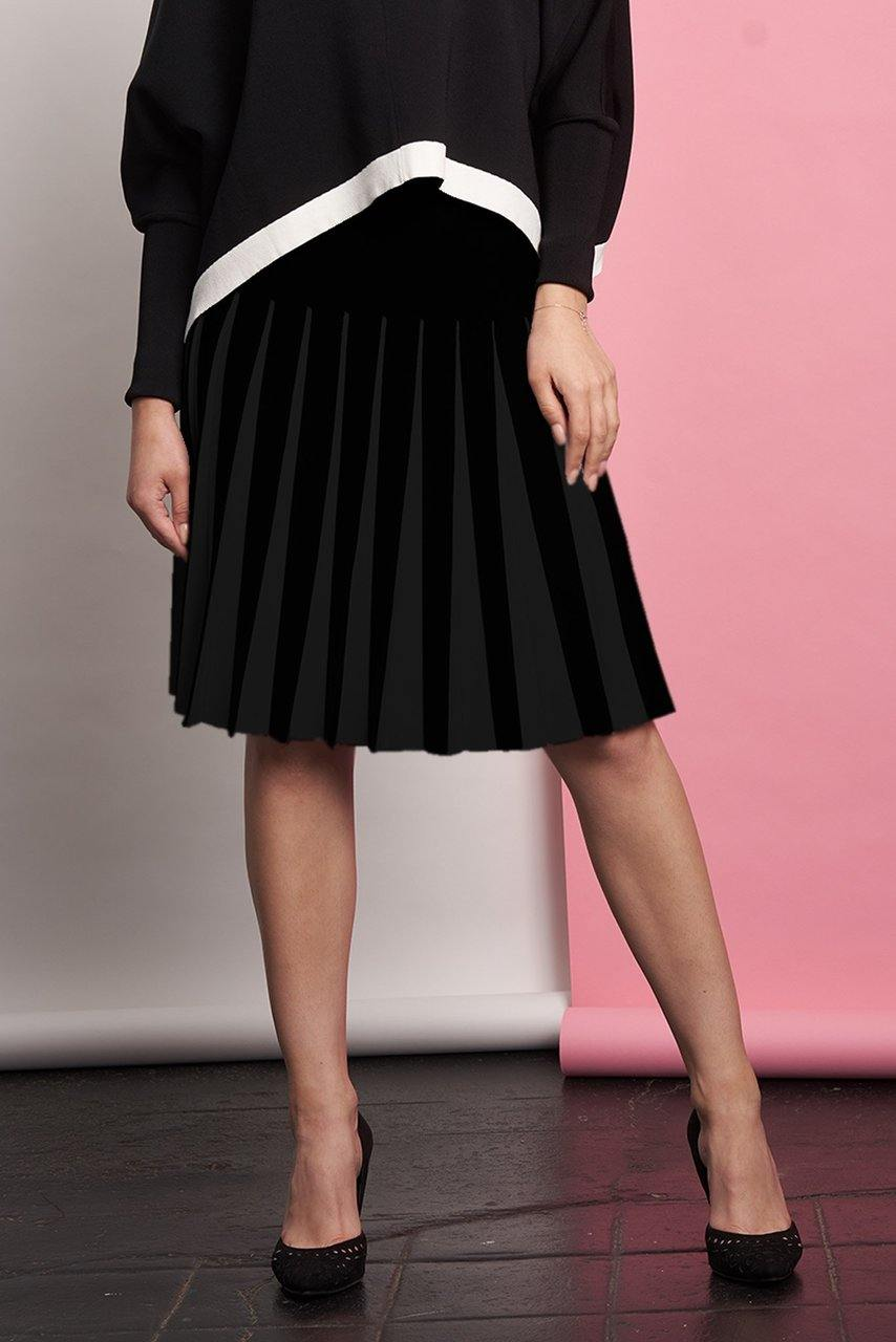 Apparalel Black Knit Pleat Skirt