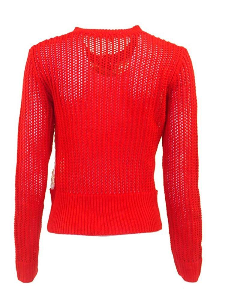 A'reve Red Knit Cardigan