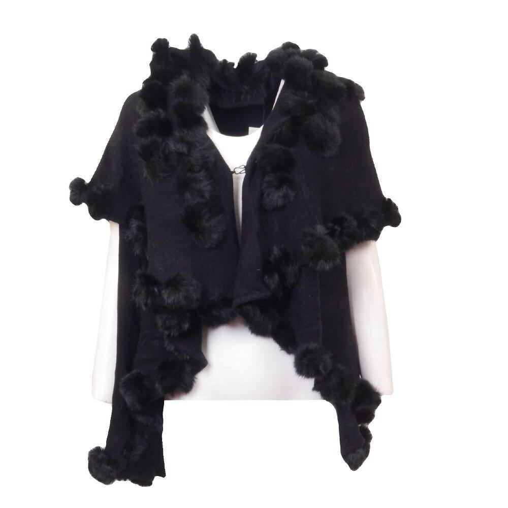 Bugatelli Rabbit Fur PomPoms Knit Shawl