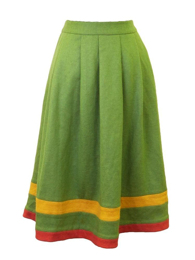 Celine K Pleated Color Block Skirt