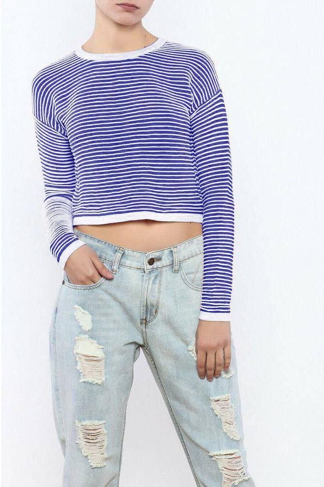 Romeo + Juliet Couture Striped Knit Crop Sweater