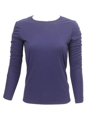 Objex Ribbed Ruched Sleeve T-Shirt