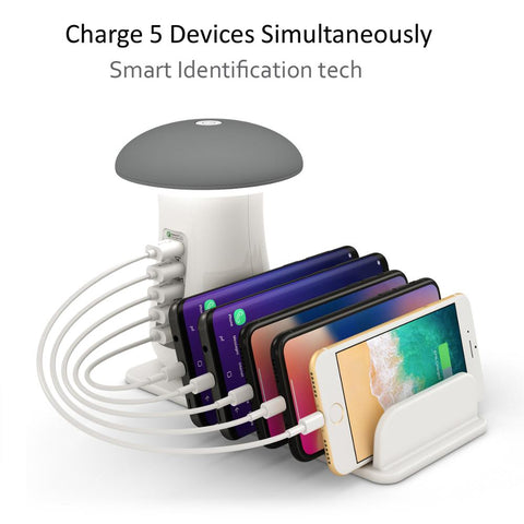 Charging Dock with Mushroom LED Lamp