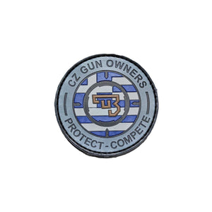 CZ Gun Owners Greek Flag PVC patch gray