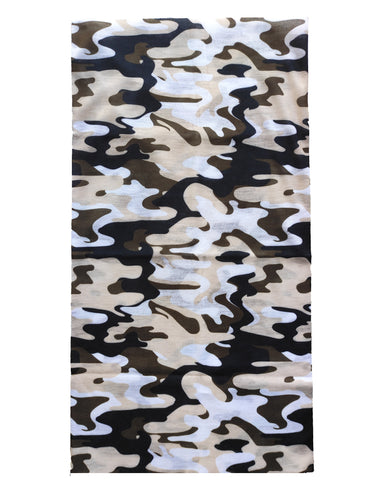 Summer Bandana (Tube) - Brown/White/Black Camo