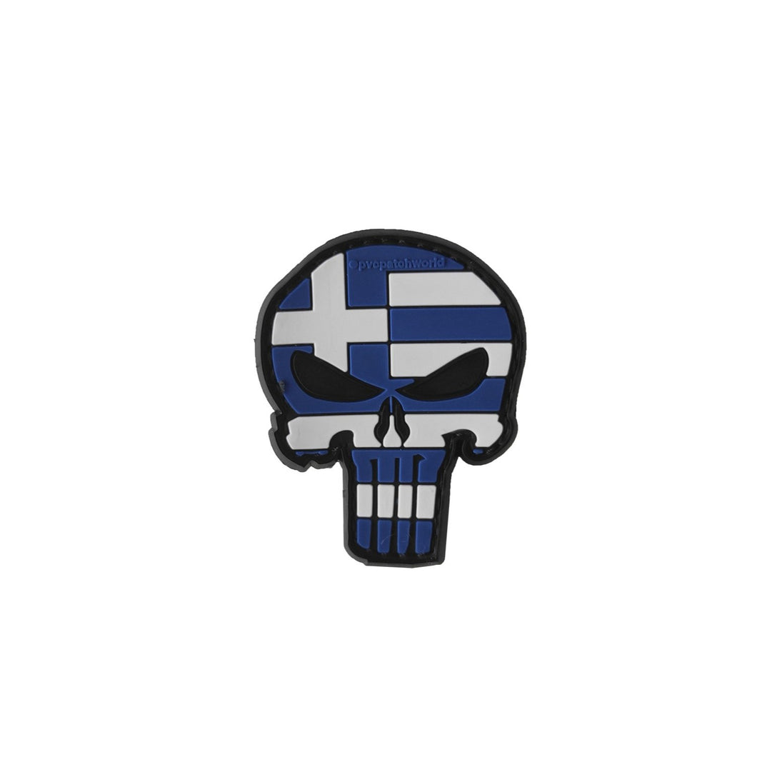 PUNISHER BLUE BLACK GREEK FLAG PVC PATCH