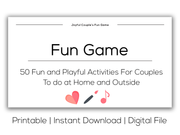 Joyful Couple's Fun Game. Printable