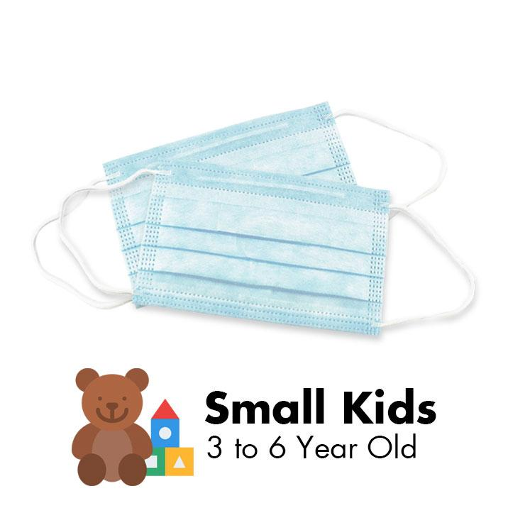 3 PLY Face Masks - 3 to 6 Year Olds (Sky Blue) - 50/Box - Taiwan Masks