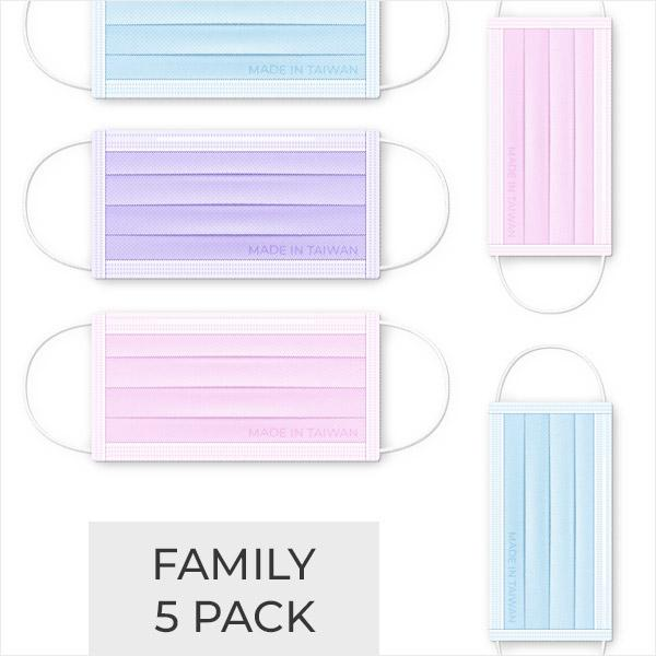 3-PLY Family Bundle 5 Pack - BLUE, PINK, PURPLE - Taiwan Masks