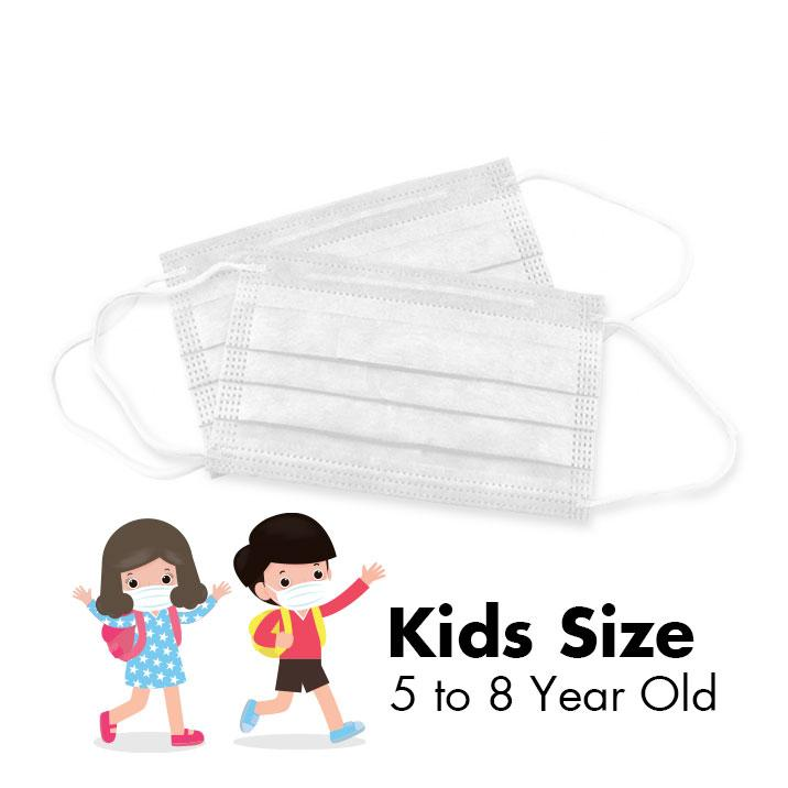 Disposable 3-PLY Face Masks - KIDS - Polar White - 50/Box - Taiwan Masks