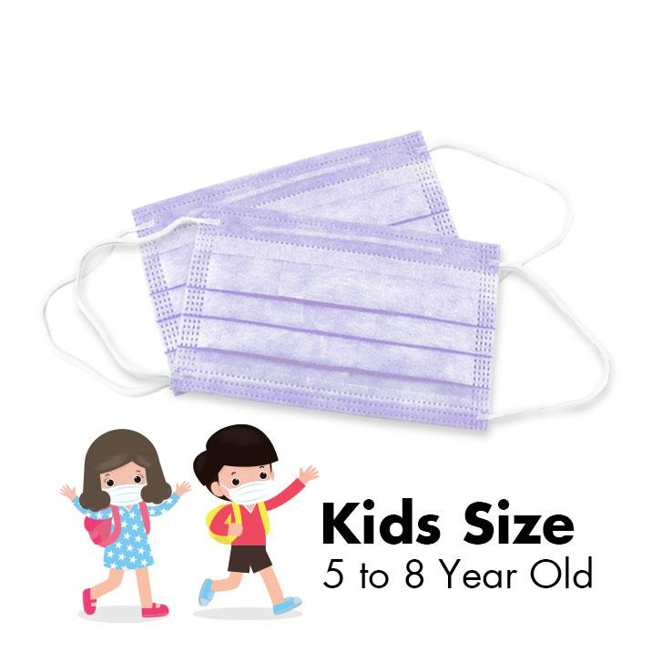 Disposable 3-PLY Face Masks - KIDS - Summer Lavender - 50/Box - Taiwan Masks