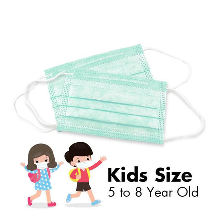 Disposable 3-PLY Face Masks - KIDS - Tiffany Green - 50/Box - Taiwan Masks