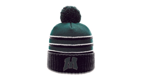 Richardson striped cuffed beanie with pom