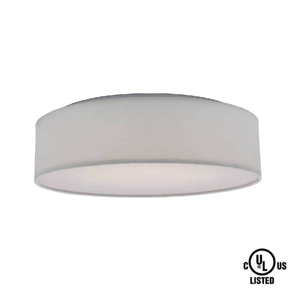 "1 Light 15"" Fabric Drum LED Decor Flush Mount 20W - ION LIGHTING DISTRIBUTION"