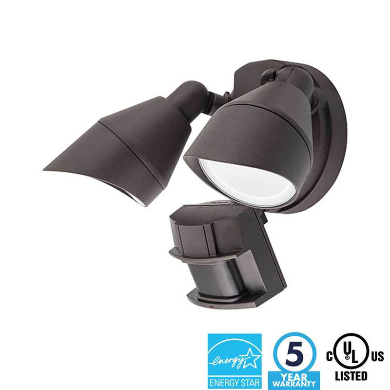 Two Head Security Light LED Bronze Finish 5000K - ION LIGHTING DISTRIBUTION