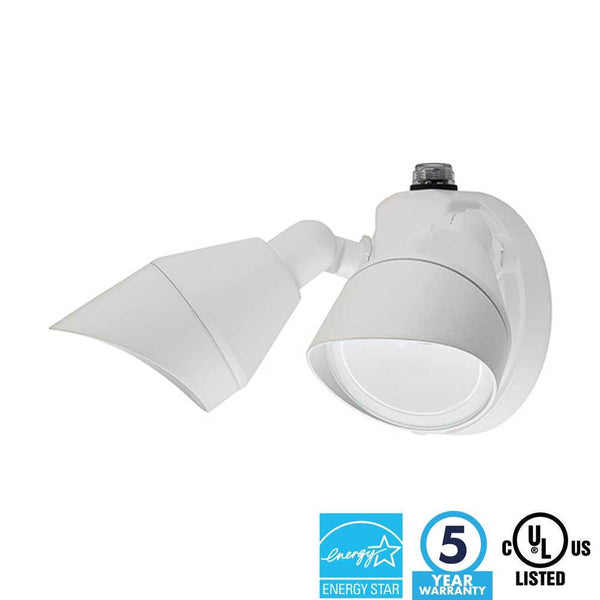 Two Head Security Light LED White Finish 5000K - ION LIGHTING DISTRIBUTION