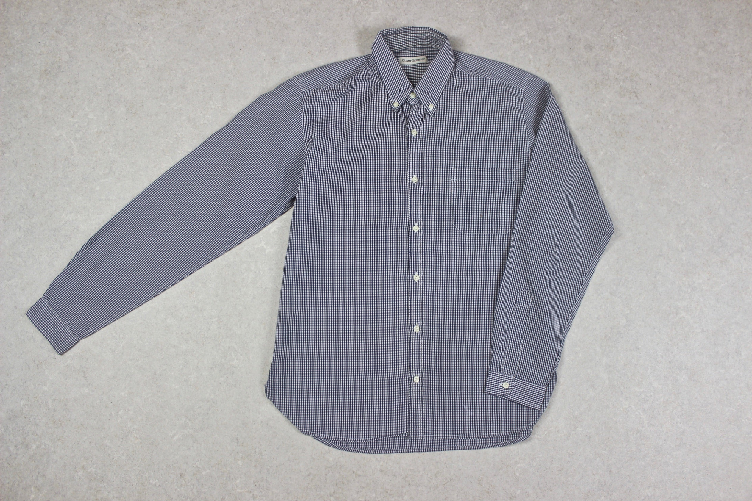 Oliver Spencer - Shirt - Navy Blue/White Gingham Check - 14.5/Extra Small
