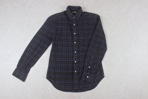 Gitman Bros Vintage - Flannel Shirt - Navy Blue/Brown Check - Small