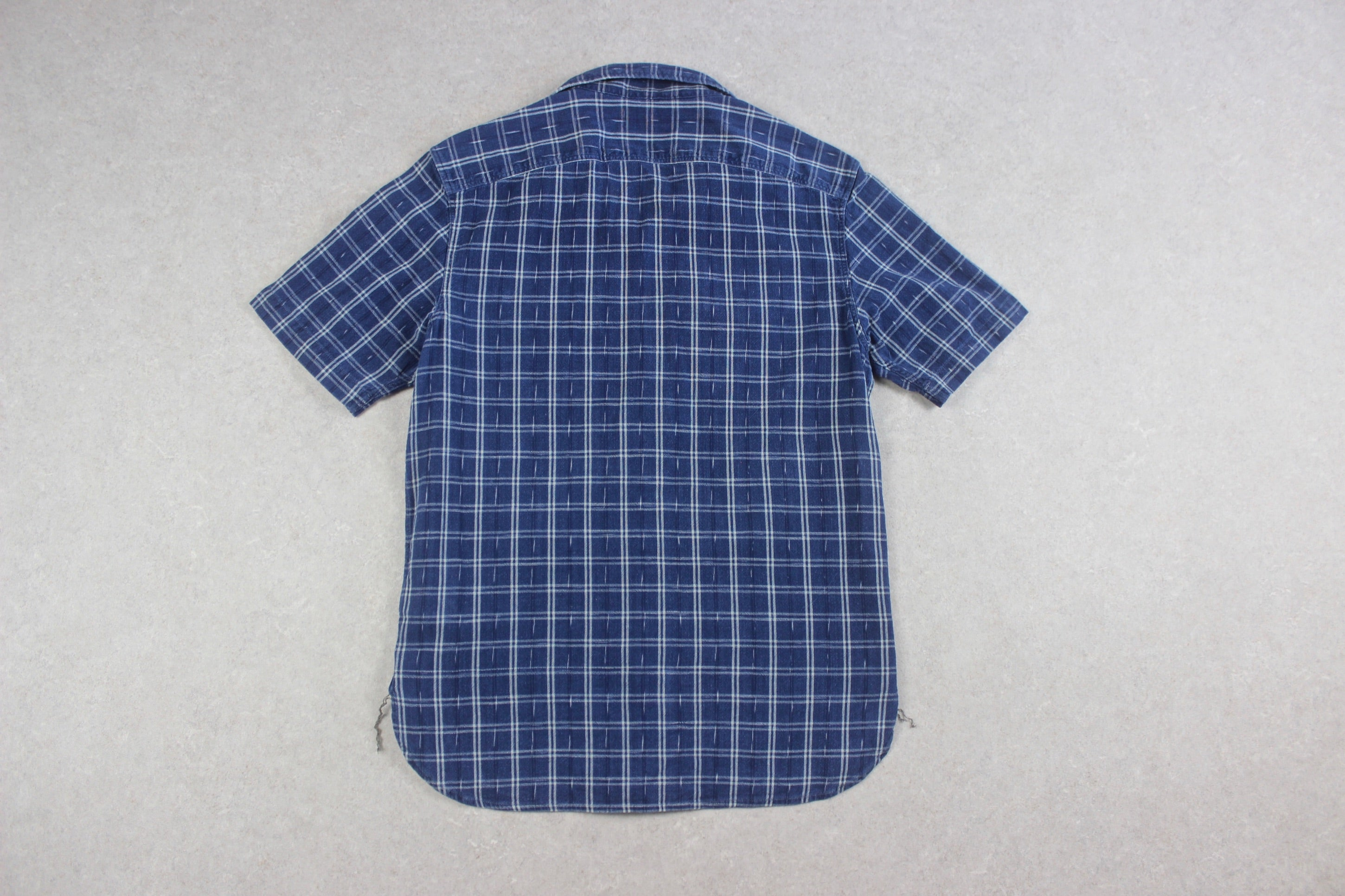 RRL Ralph Lauren - Camp Collar Short Sleeve Shirt - Chambray Blue - Small