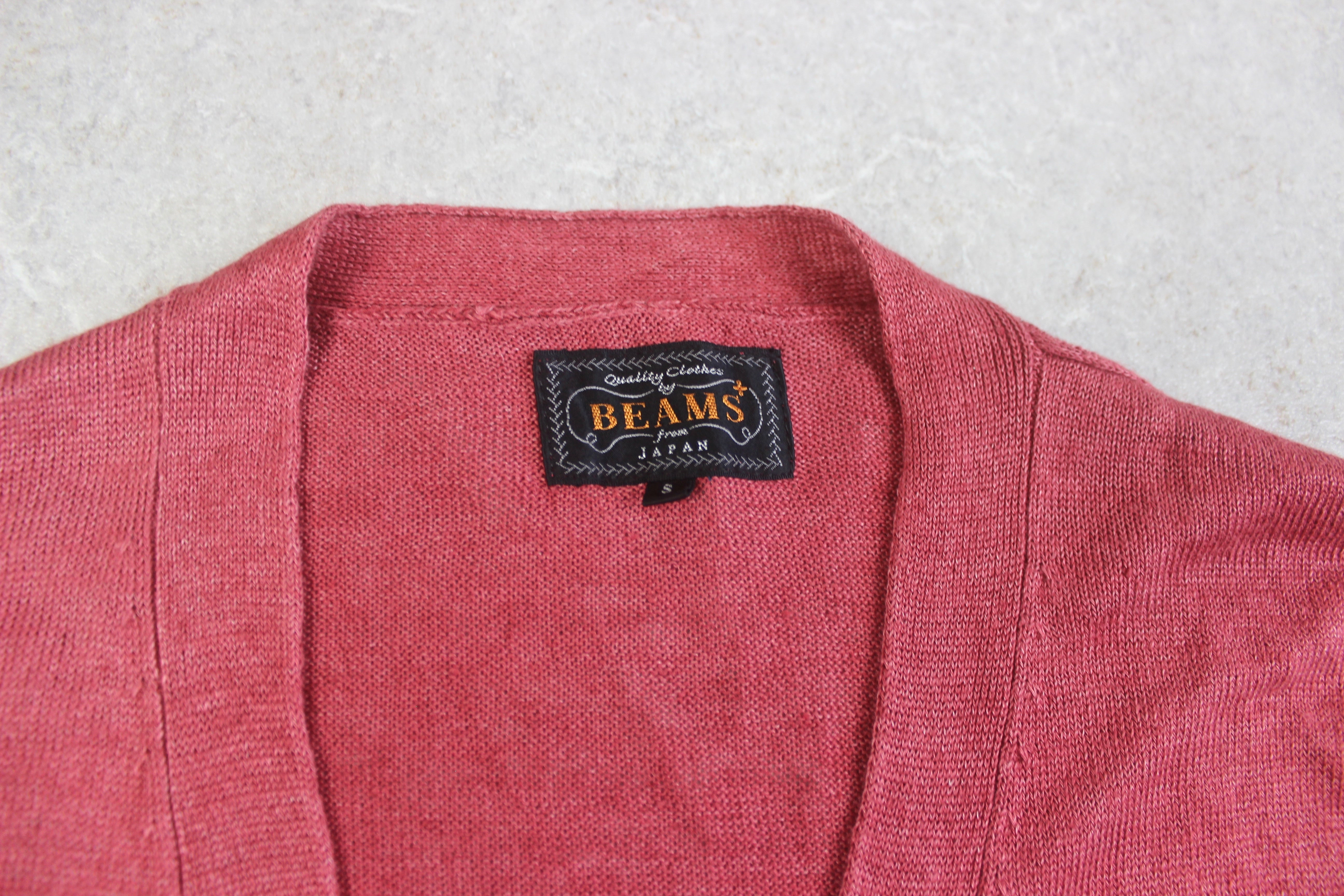 Beams Plus - Linen Knit Cardigan Jumper - Pink/Red - Small