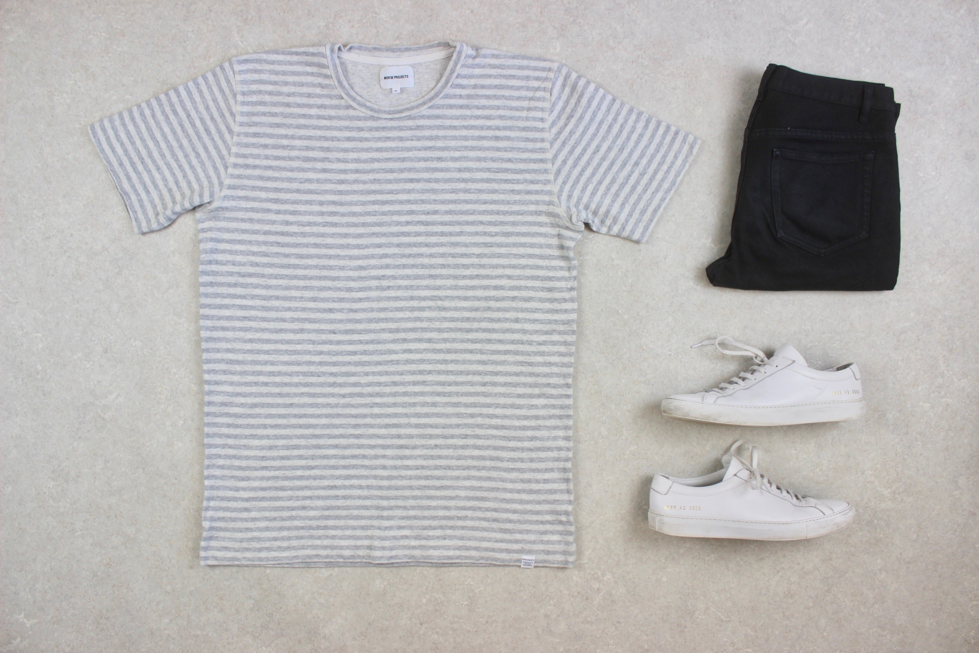 Norse Projects - T Shirt - Grey Stripe - Extra Large