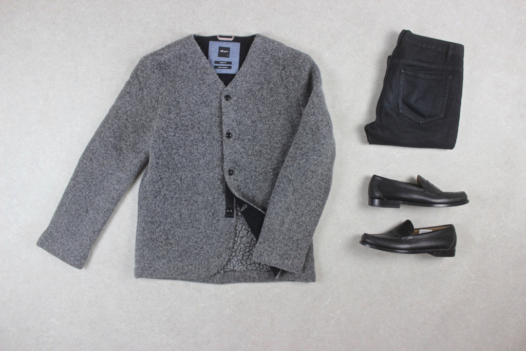 Albam - Wool Blazer Jacket - Grey - 1/Small