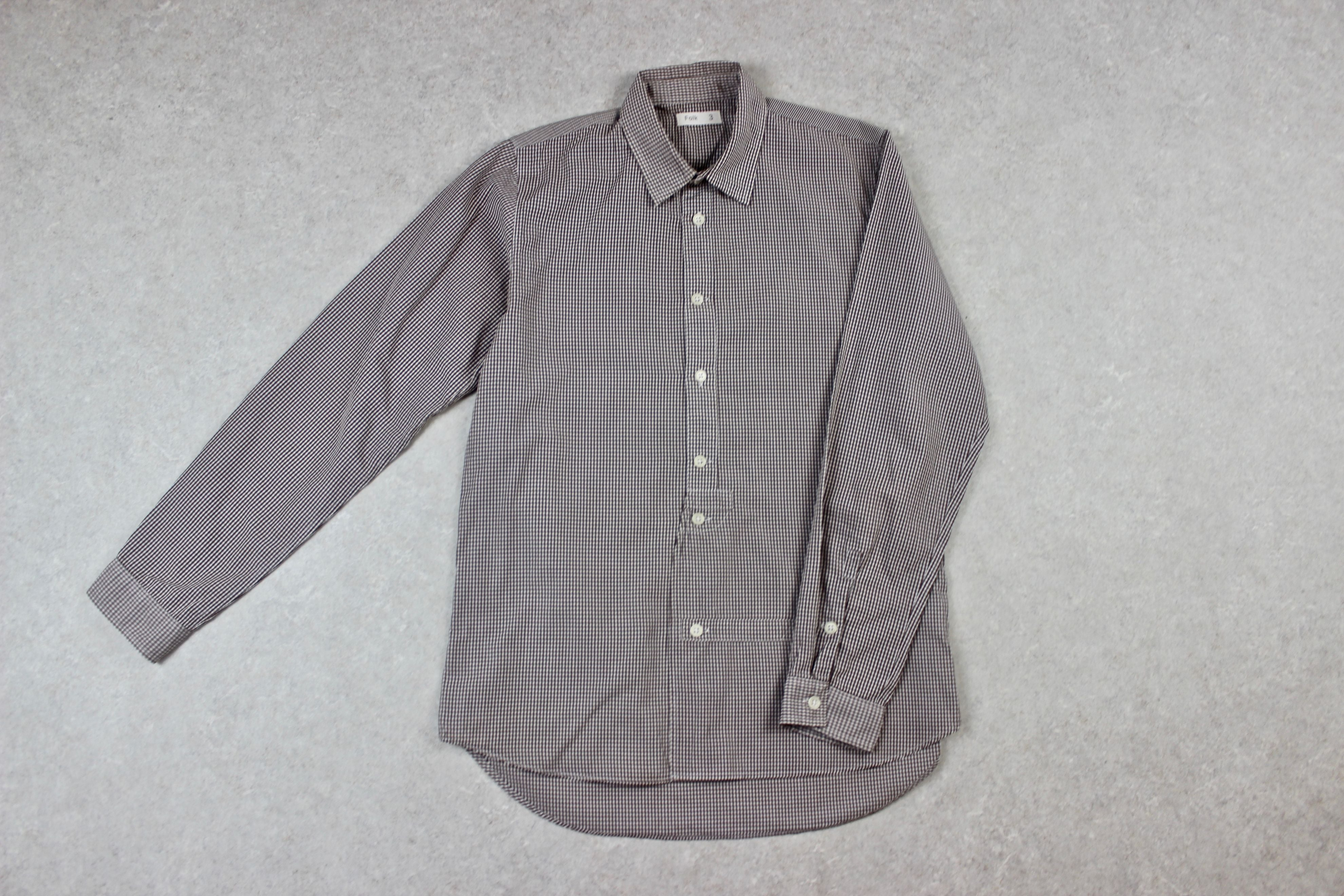 Folk - Shirt - Brown/White Gingham Check - 3/Medium