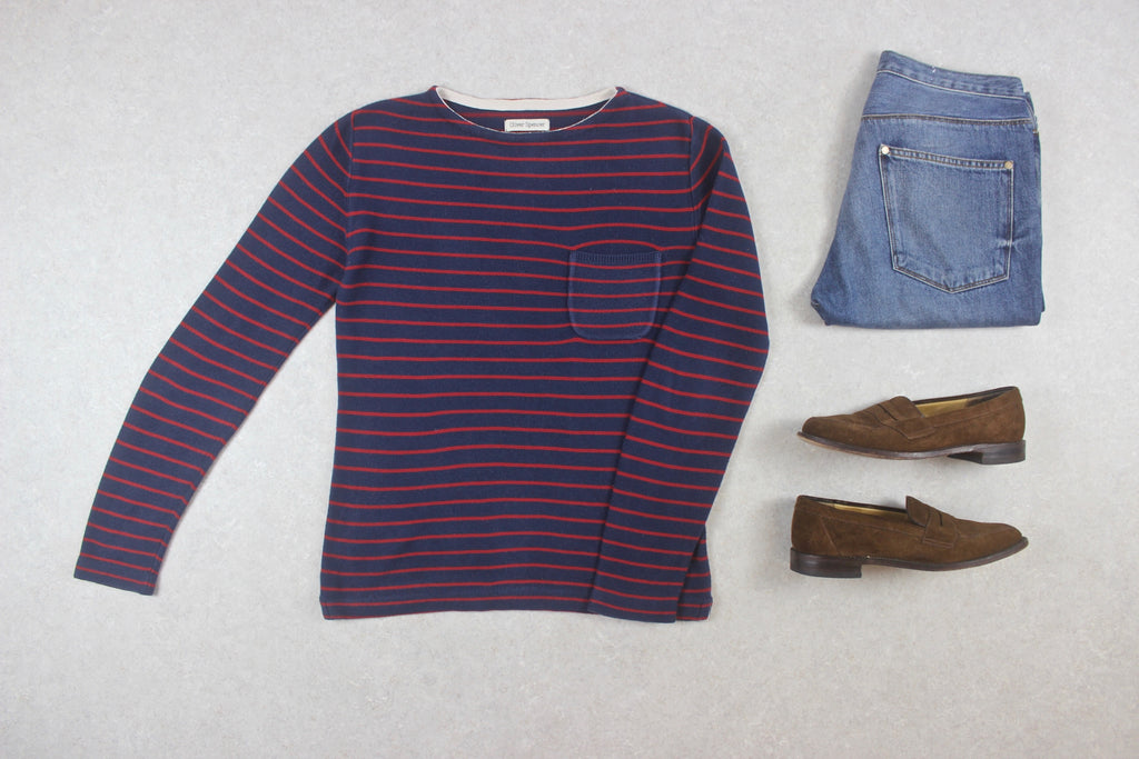 Oliver Spencer - Knit Jumper - Navy Blue/Red Stripe - XXS Extra Small