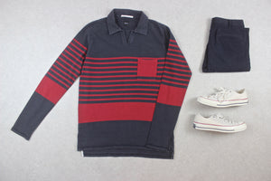 Albam - Rugby Shirt Jumper - Navy Blue/Red Stripe - 3/Large