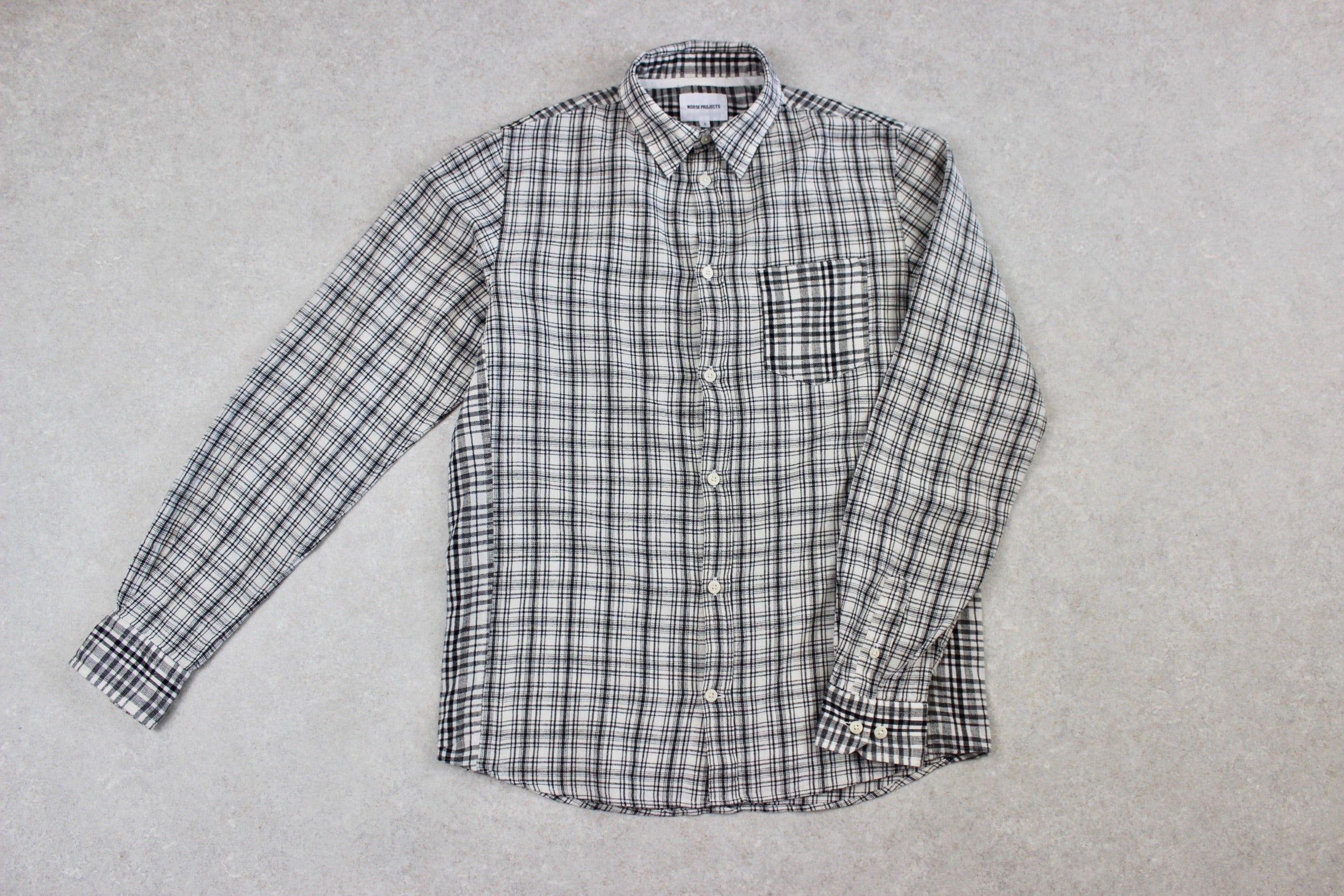 Norse Projects - Cotton/Linen Shirt - White/Black Check - Small