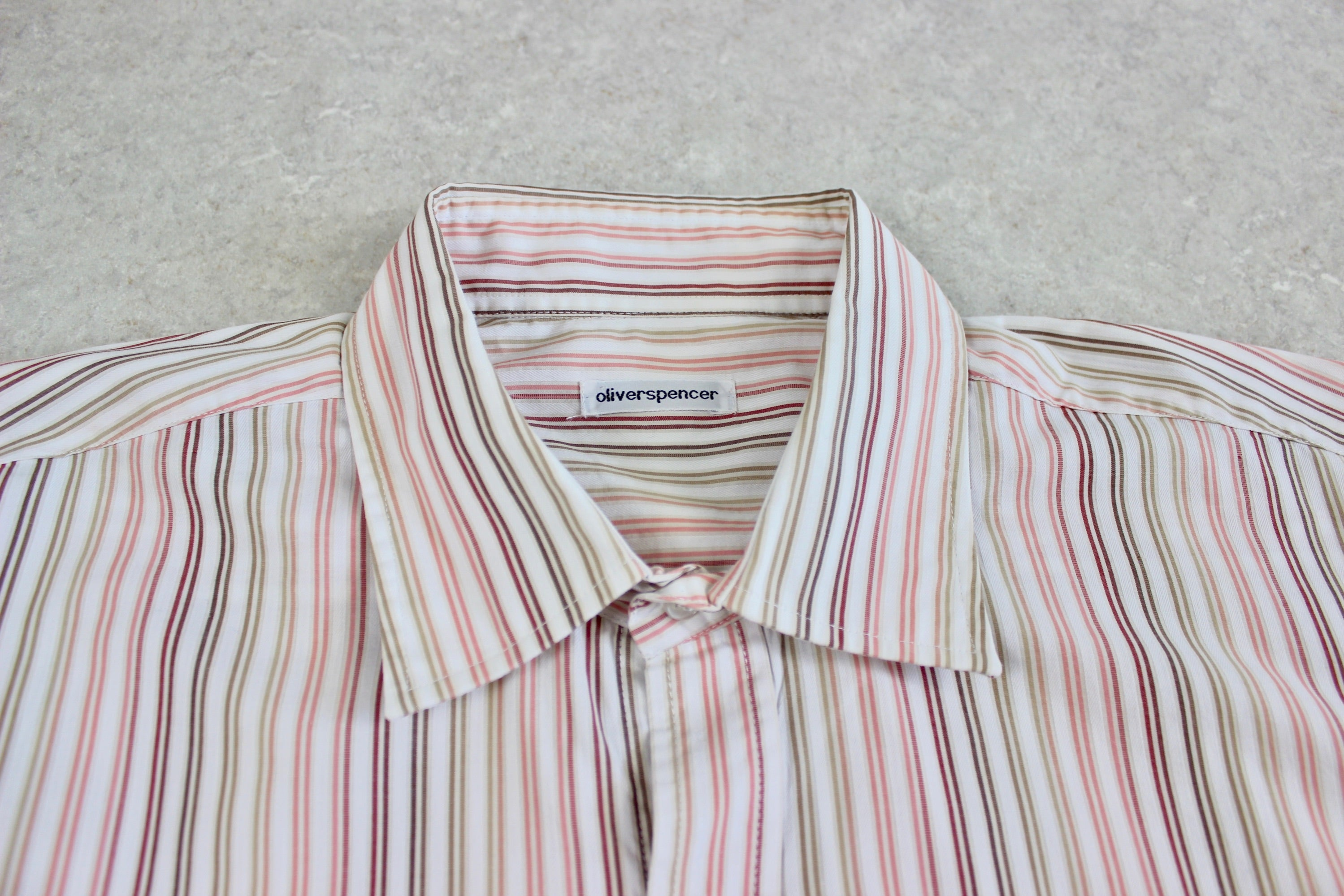 Oliver Spencer - Shirt - White/Multi Stripe - 16.5 Extra Large
