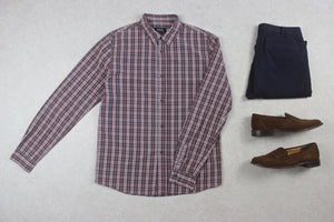 A.P.C. - Shirt - Burgundy/Grey Check - Medium