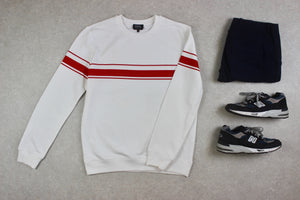 A.P.C. - Sweatshirt Jumper - White/Red Stripe - Extra Large - Brand New