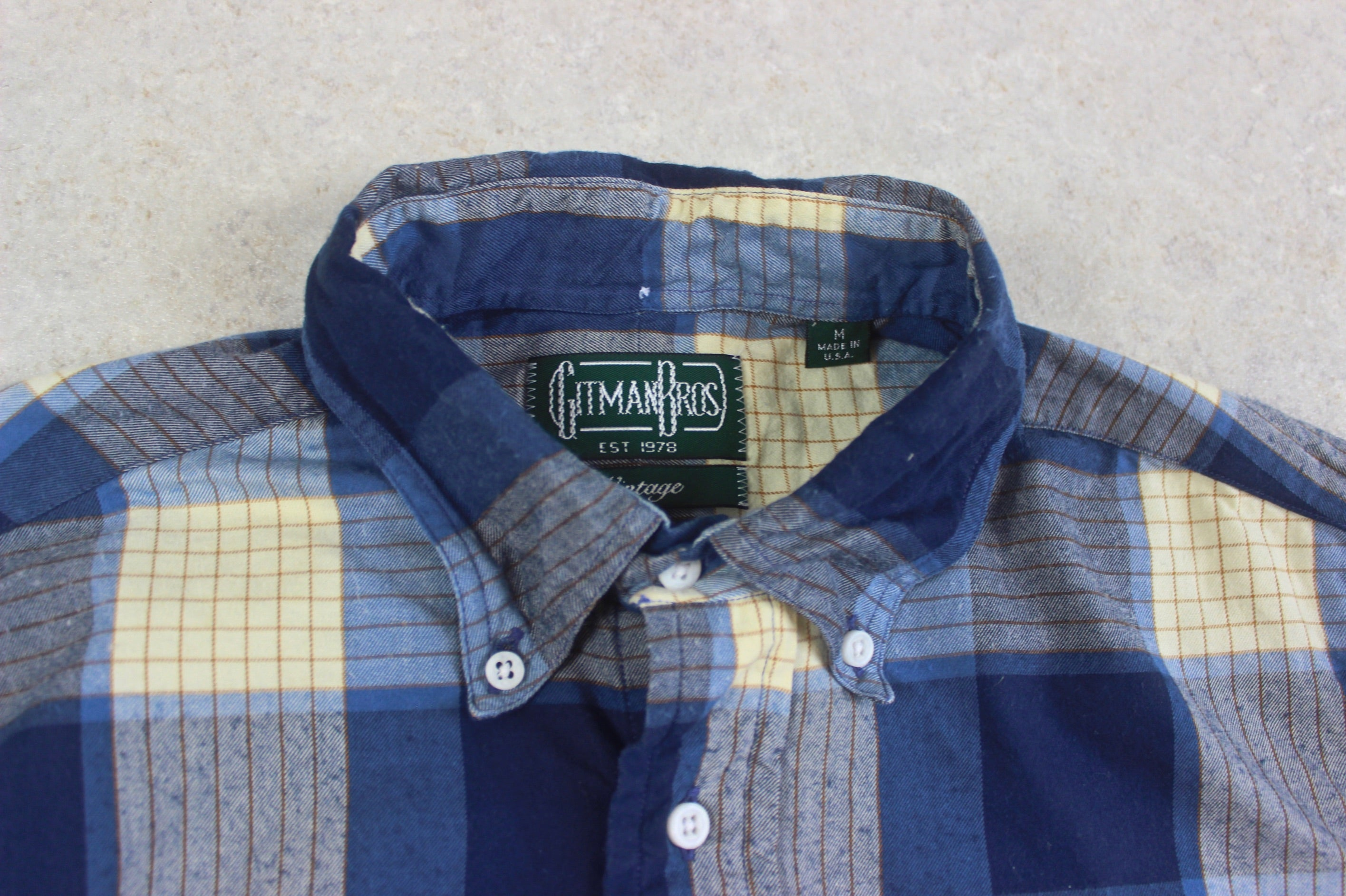 Gitman Bros Vintage - Shirt - Blue/Cream Check - Medium