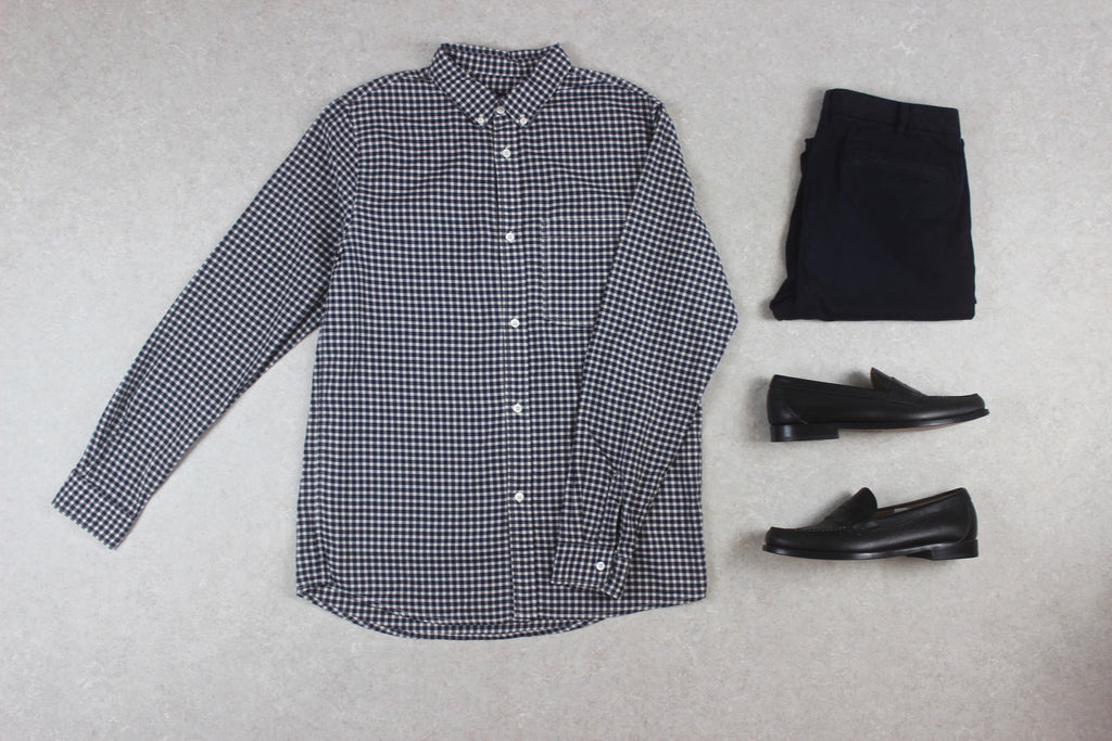 A.P.C. - Shirt - Navy Blue/White Check - Large