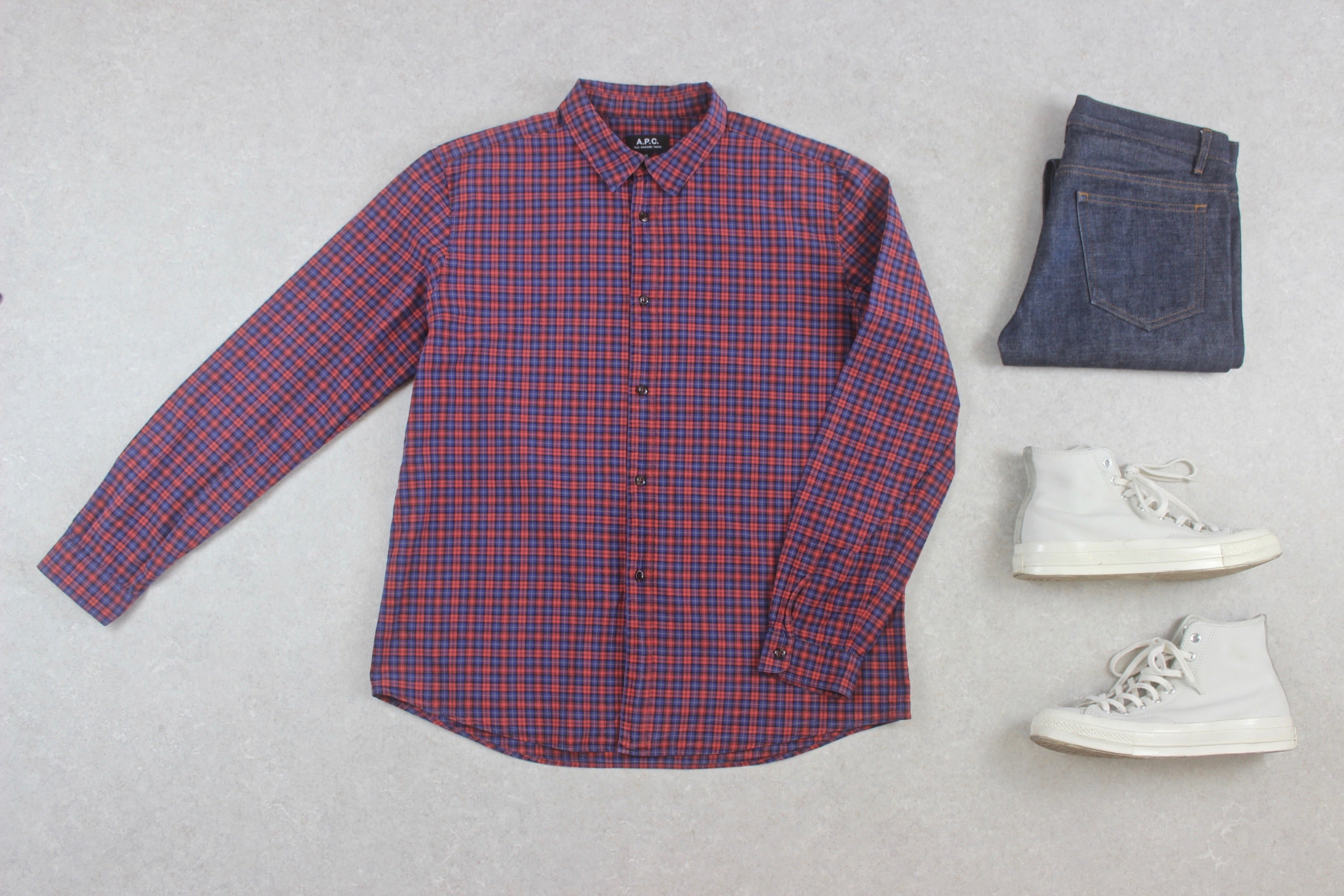 A.P.C. - Shirt - Red/Blue Check - Extra Large