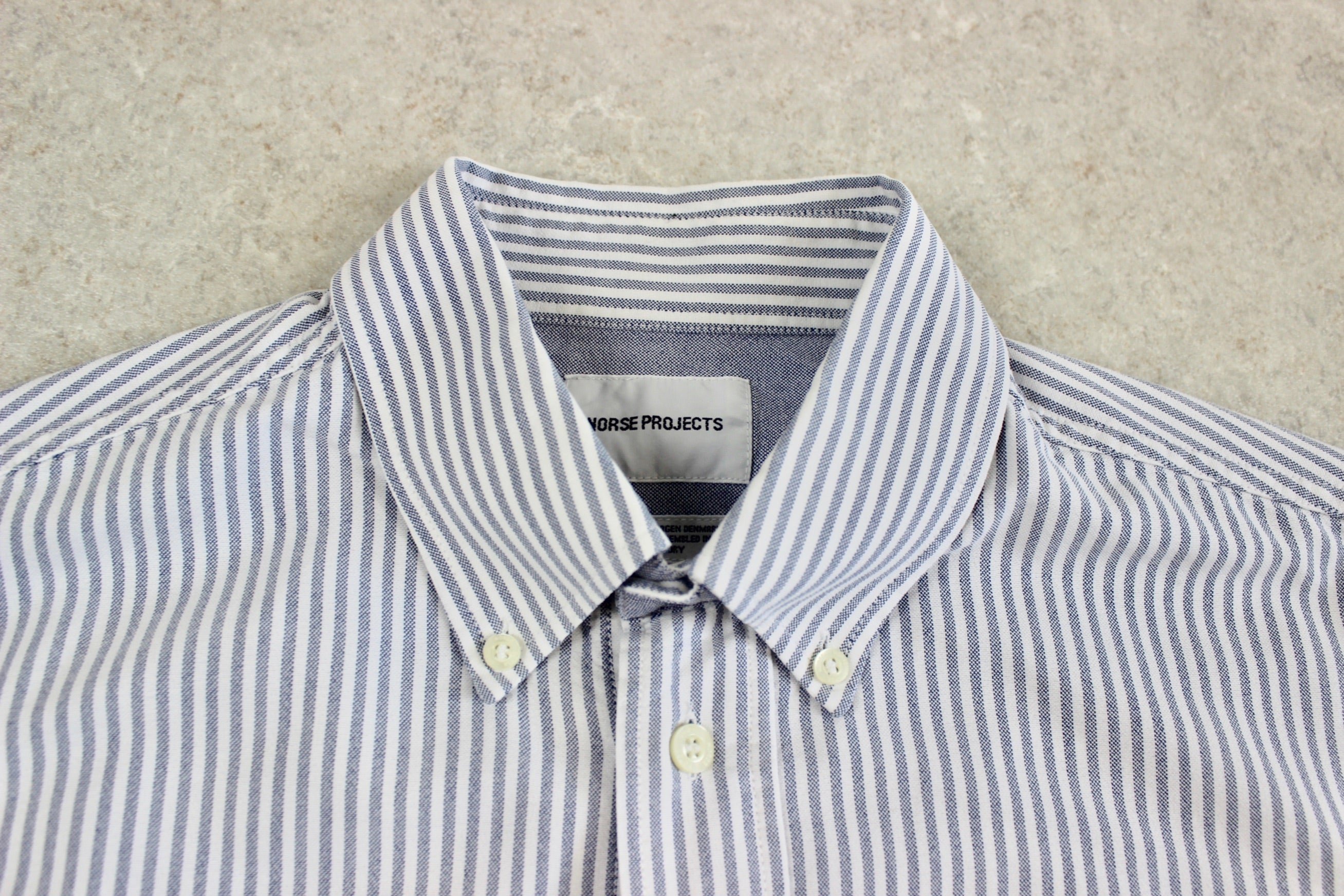 Norse Projects - Shirt - Blue/White Stripe - Medium