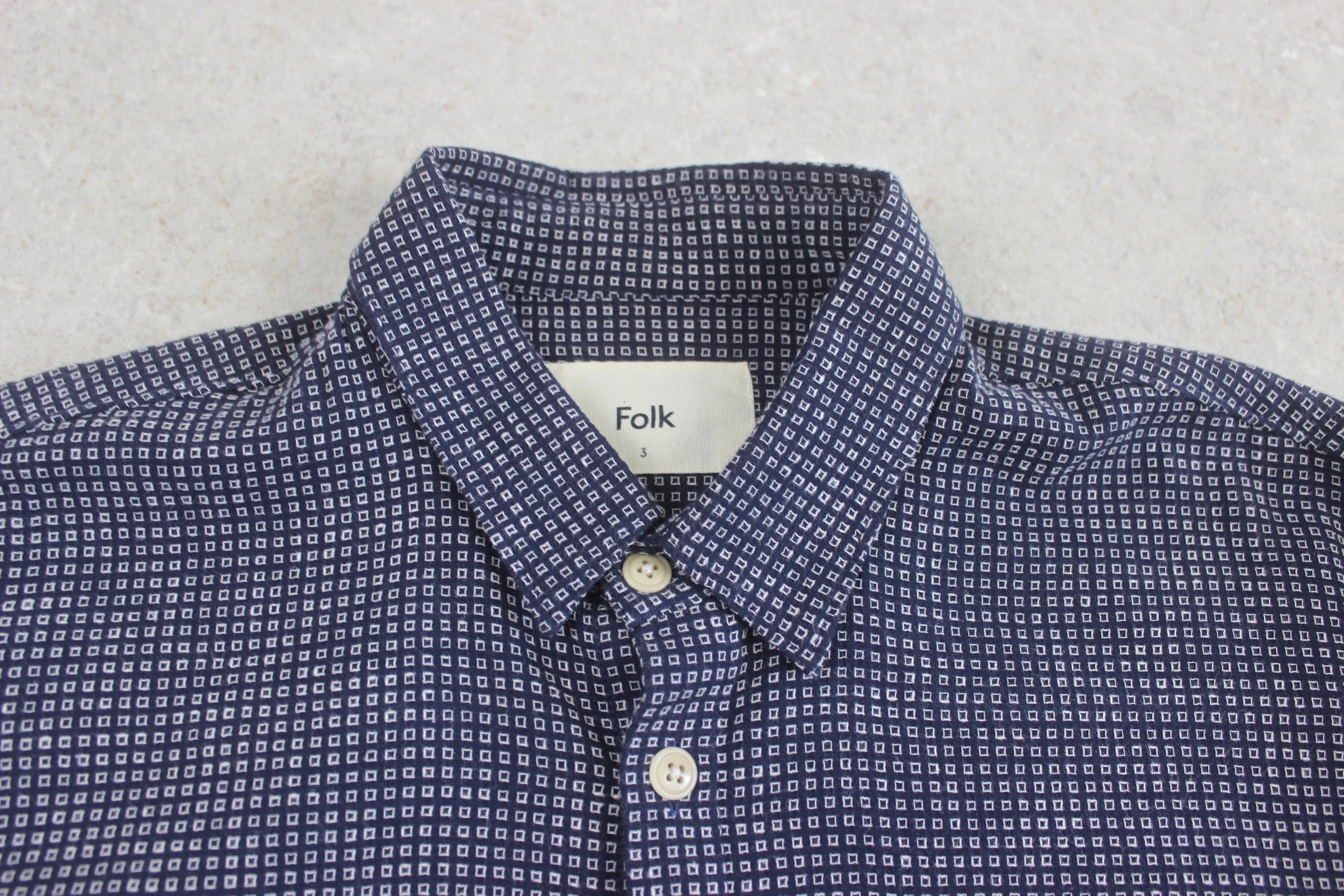 Folk - Shirt - Navy Blue/White Pattern - 3/Medium