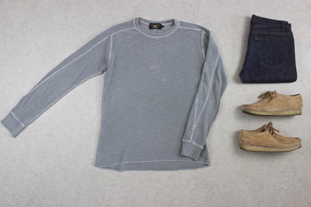 RRL Ralph Lauren - Thermal Waffle Long Sleeve T Shirt  - Grey - Small
