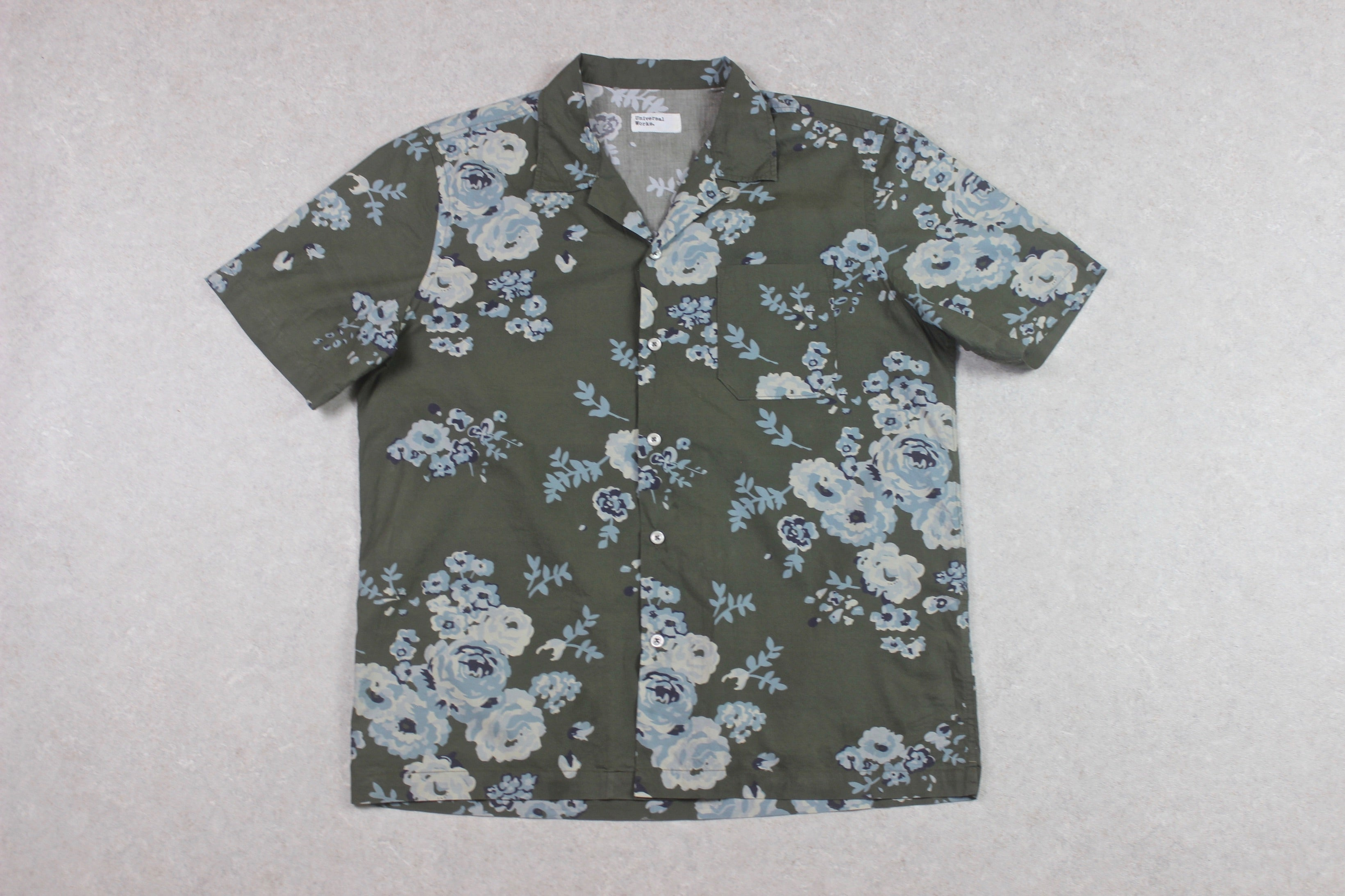 Universal Works - Camp Collar Shirt - Olive Green Floral - Medium