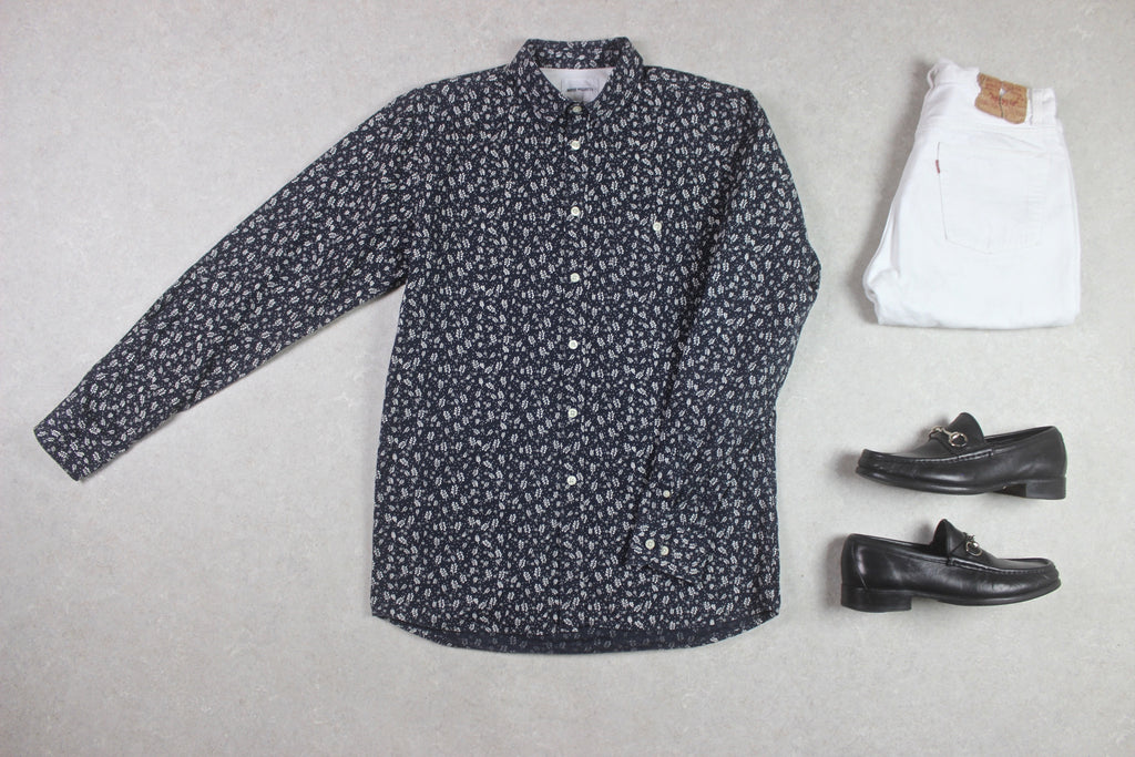 Norse Projects - Shirt - Navy Blue/White Floral - Medium