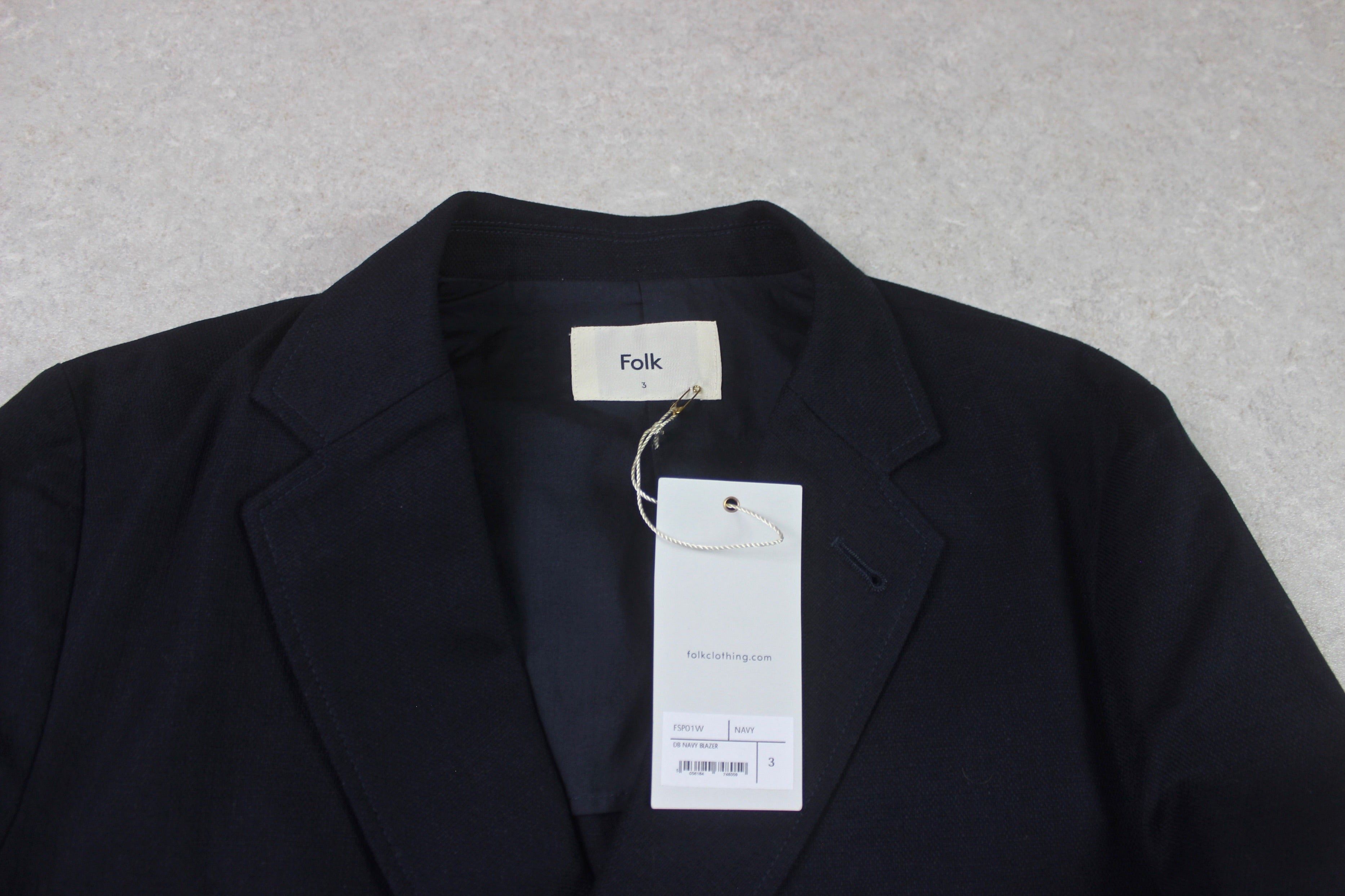 Folk - Double Breasted Blazer Jacket - Navy Blue - 3/Medium - Brand New
