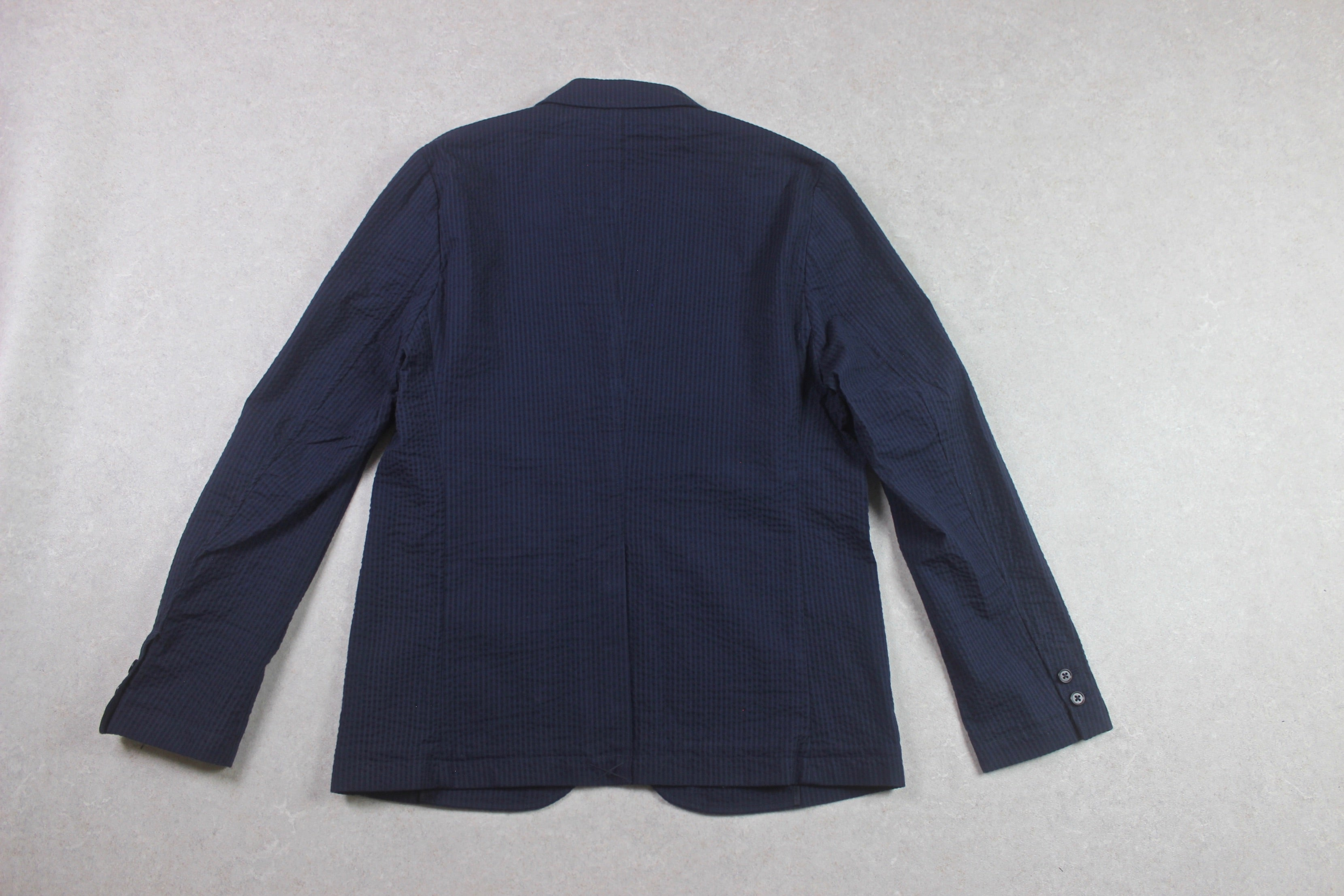 Folk - Seersucker Blazer Jacket - Navy Blue - 3/Medium - Brand New