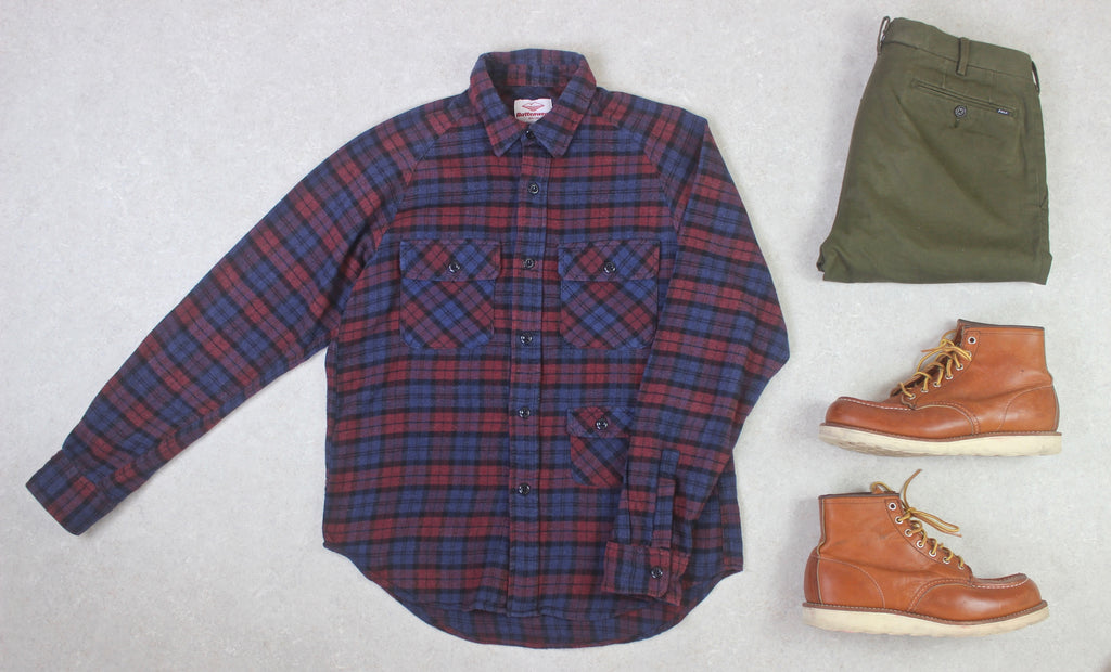Battenwear - Flannel Shirt - Red/Blue Check - Small