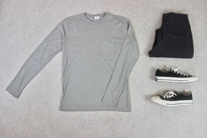 Sunspel - Long Sleeve T Shirt - Grey - Small