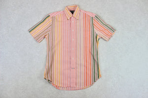 Gitman Bros Vintage - Short Sleeve Shirt - Orange Stripe - Small